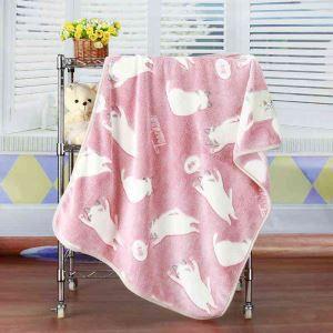 毛布 ブランケット フランネル毛布 ベビーバスタオル ひざ掛け 肩掛け 赤ちゃん用 子猫柄 2色 75*100cm