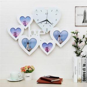 【壁掛け時計】フォトフレーム付写真5枚収納と時計が一体♪ 壁時計 静音時計 黒白 LOVE
