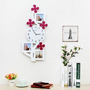 壁掛け時計 フォトフレーム付写真3枚収納と時計が一体♪ 壁時計 静音時計 黒白 木型