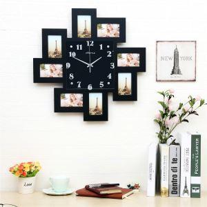 壁掛け時計 フォトフレーム付写真8枚収納と時計が一体♪ 壁時計 静音時計 黒白 オシャレ