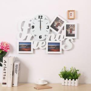 壁掛け時計 フォトフレーム付写真4枚収納と時計が一体♪ 壁時計 静音時計 黒白 Friends