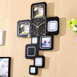 壁掛け時計 フォトフレーム付写真3枚収納と時計が一体♪ 壁時計 静音時計 黒白 インテリア時計