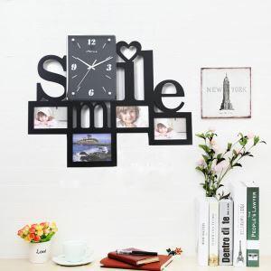 壁掛け時計 フォトフレーム付写真4枚収納と時計が一体♪ 壁時計 静音時計 黒白 Smile