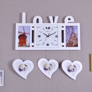 壁掛け時計 フォトフレーム付写真5枚収納と時計が一体♪ 壁時計 静音時計 黒白 ハート