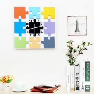 壁掛け時計 静音時計 子供屋 壁時計 時計 黒白 ジグソ—パズル型