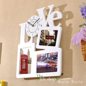 壁掛け時計 フォトフレーム付写真3枚収納と時計が一体♪ 壁時計 静音時計 黒白 Love