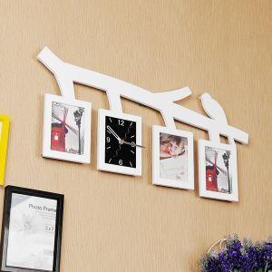 壁掛け時計 フォトフレーム付写真4枚収納と時計が一体♪ 壁時計 静音時計 黒白 木&鳥