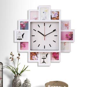 【壁掛け時計】フォトフレーム付写真9枚収納と時計が一体♪ 壁時計 静音時計 黒白銀