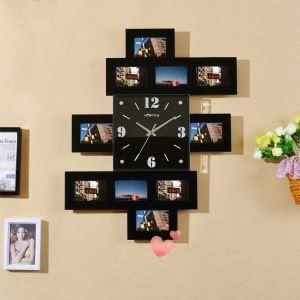 壁掛け時計 フォトフレーム付写真10枚収納と時計が一体♪ 壁時計 静音時計 黒白 創意的