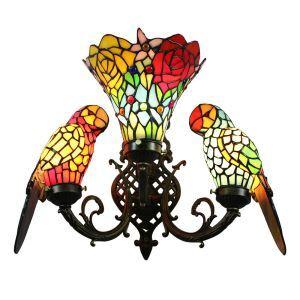 壁掛け照明 ティファニーライト ステンドグラスランプ ブラケット 玄関照明 オウム型 3灯