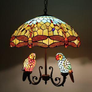 シャンデリア ステンドグラスランプ ティファニーライト 照明器具 リビング 寝室 店舗 オウム型 5灯 LS18052