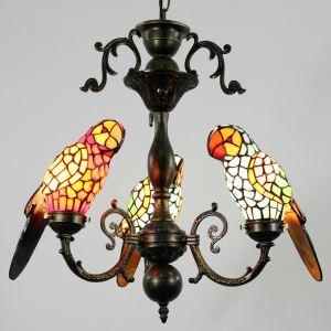 シャンデリア ステンドグラスランプ ティファニーライト 照明器具 リビング 寝室 店舗 オウム型 3灯 LS18043