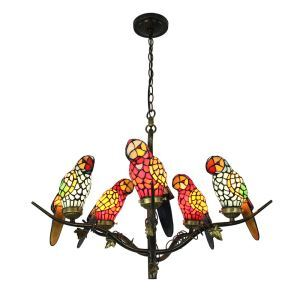 シャンデリア ステンドグラスランプ ティファニーライト 照明器具 リビング 寝室 店舗 オウム型 5灯 LS18051