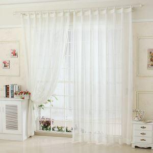 シアーカーテン オーダーカーテン UVカット ホワイト 刺繍 レースカーテン(1枚)