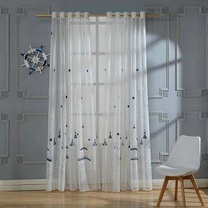 シアーカーテン オーダーカーテン UVカット 城柄 刺繍 レースカーテン(1枚)