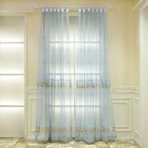 シアーカーテン オーダーカーテン UVカット ライトブルー 刺繍 レースカーテン(1枚)