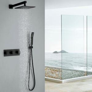 埋込形シャワー水栓 レインシャワーヘッドシステム バス蛇口 ヘッドシャワー 混合栓 黒色
