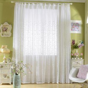 レースカーテン オーダーカーテン UVカット 白色 木柄 刺繍 オシャレ シアーカーテン(1枚)