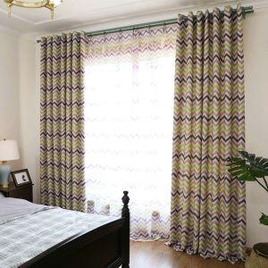 遮光カーテン オーダーカーテン UVカット ポリエステル 横縞柄 現代風 1級遮光カーテン(1枚)