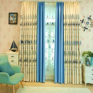 遮光カーテン オーダーカーテン 寝室 リビング ポリエステル 船柄 現代風 子供屋 1級遮光カーテン(1枚)