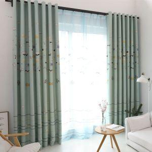 遮光カーテン オーダーカーテン 寝室 リビング ポリエステル お魚柄 現代風 子供屋 1級遮光カーテン(1枚)