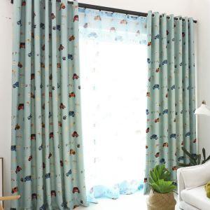 遮光カーテン オーダーカーテン UVカット ポリエステル カー柄 北欧風 子供屋 3級遮光カーテン(1枚)