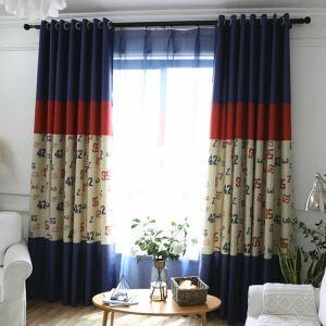 遮光カーテン オーダーカーテン UVカット ポリエステル 数字柄 北欧風 子供屋 1級遮光カーテン(1枚)