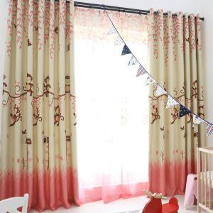 遮光カーテン オーダーカーテン UVカット ポリエステル 猿柄 北欧風 子供屋 1級遮光カーテン(1枚)