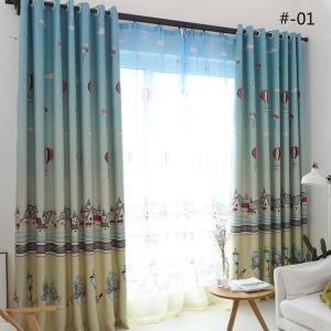 遮光カーテン オーダーカーテン UVカット ポリエステル 雪だるま柄 北欧風 子供屋 3級遮光カーテン(1枚)