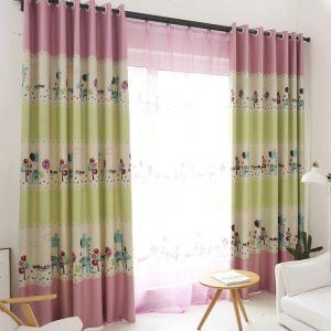 遮光カーテン オーダーカーテン UVカット ポリエステル キリン柄 北欧風 子供屋 1級遮光カーテン(1枚)