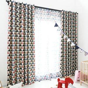 遮光カーテン オーダーカーテン UVカット ポリエステル 三角形柄 北欧風 1級遮光カーテン(1枚)