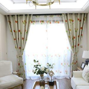遮光カーテン オーダーカーテン UVカット ポリエステル 彩色花柄 北欧風 1級遮光カーテン(1枚)