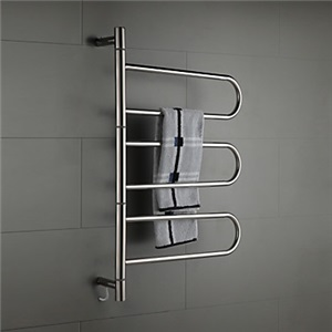 壁掛けタオルウォーマー タオルハンガー+簡易乾燥 ステンレス鋼 180°回転可能 コンセント付 60W