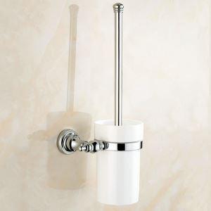 トイレブラシホルダー トイレ用品 トイレ掃除 トイレブラシ&ポット付き 真鍮製 クロム