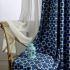 遮光カーテン オーダーカーテン 捺染 抽象的 青色 オシャレ 3級遮光カーテン(1枚)