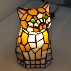 テーブルランプ ティファニーライト ステンドグラスランプ 枕元スタンド ナイトライト猫型 1灯