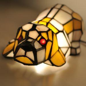 テーブルランプ ティファニーライト ステンドグラスランプ 枕元スタンド ナイトライト犬型 1灯