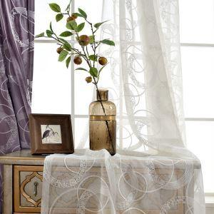 レースカーテン オーダーカーテン UVカット 刺繍 白色 シアーカーテン(1枚)