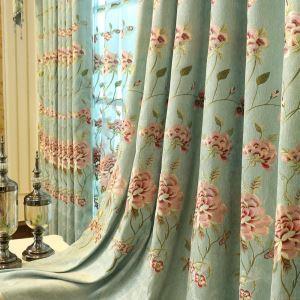 遮光カーテン オーダーカーテン 刺繍 ボタン柄 シェニール 北欧 3級遮光カーテン(1枚)