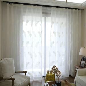 レースカーテン オーダーカーテン UVカット 刺繍 羽柄 シアーカーテン(1枚)