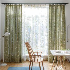 遮光カーテン オーダーカーテン 捺染 鳥柄 北欧 3級遮光カーテン(1枚)