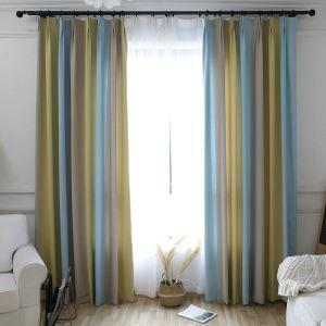 遮光カーテン オーダーカーテン ジャカード 黄青色 北欧 3級遮光カーテン(1枚)