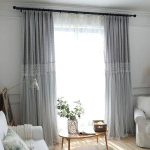 遮光カーテン オーダーカーテン シアーカーテン付き 北欧 ジャカード 灰色 3級遮光カーテン(1枚)