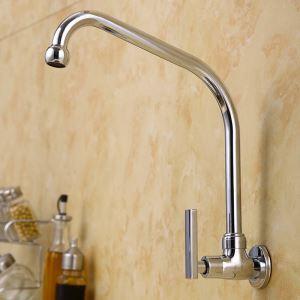 壁付水栓 キッチン蛇口 台所蛇口 単水栓 回転可能 クロム 7型