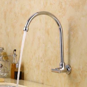 壁付水栓 キッチン蛇口 台所蛇口 単水栓 回転可能 クロム U型