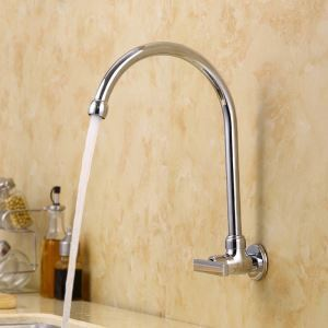 壁付水栓 キッチン蛇口 台所蛇口 単水栓 回転可能 水道蛇口 クロム U型