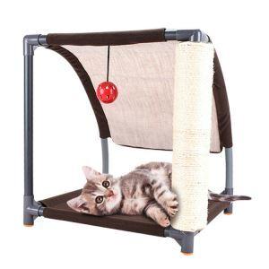 猫のタワー キャットタワー 爪とぎポール付き 猫ハウス 据え置き 麻紐 遊び場 組み立て式