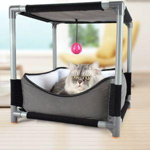 猫タワー 猫の家 おもちゃ付き 多用途 遊び場 猫の巣 爪とぎポール 吊りおもちゃ 組み立て式 DIY