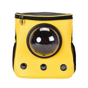 ペットバッグ ペットキャリー ペットケース 犬猫兼用 肩掛け 通気性抜群 旅行 お出かけ ポータブル 宇宙船カプセル型 黄色