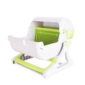 猫トイレ 半自動猫用トイレ 清潔トイレ 掃除簡単 ハーフカバー 砂節約 大きい 大中小型猫通用 組立簡単 グリーン